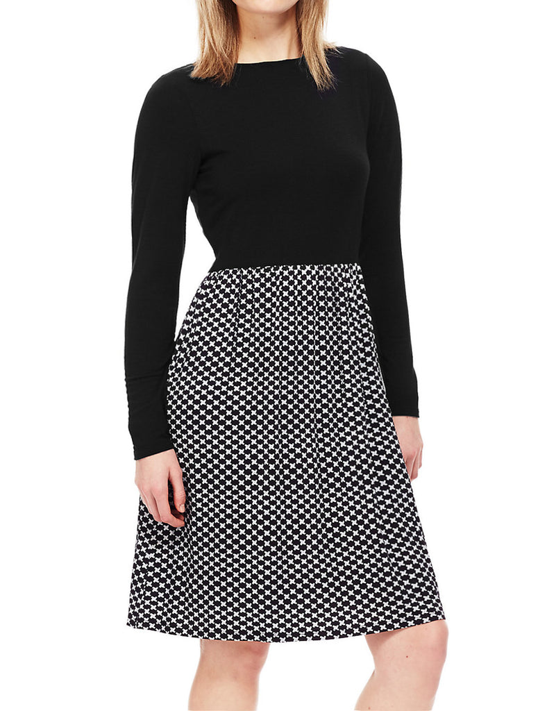 Ladies Fashion Long Sleeved Dress With Monochrome Skirt & Black Jersey Top - Front