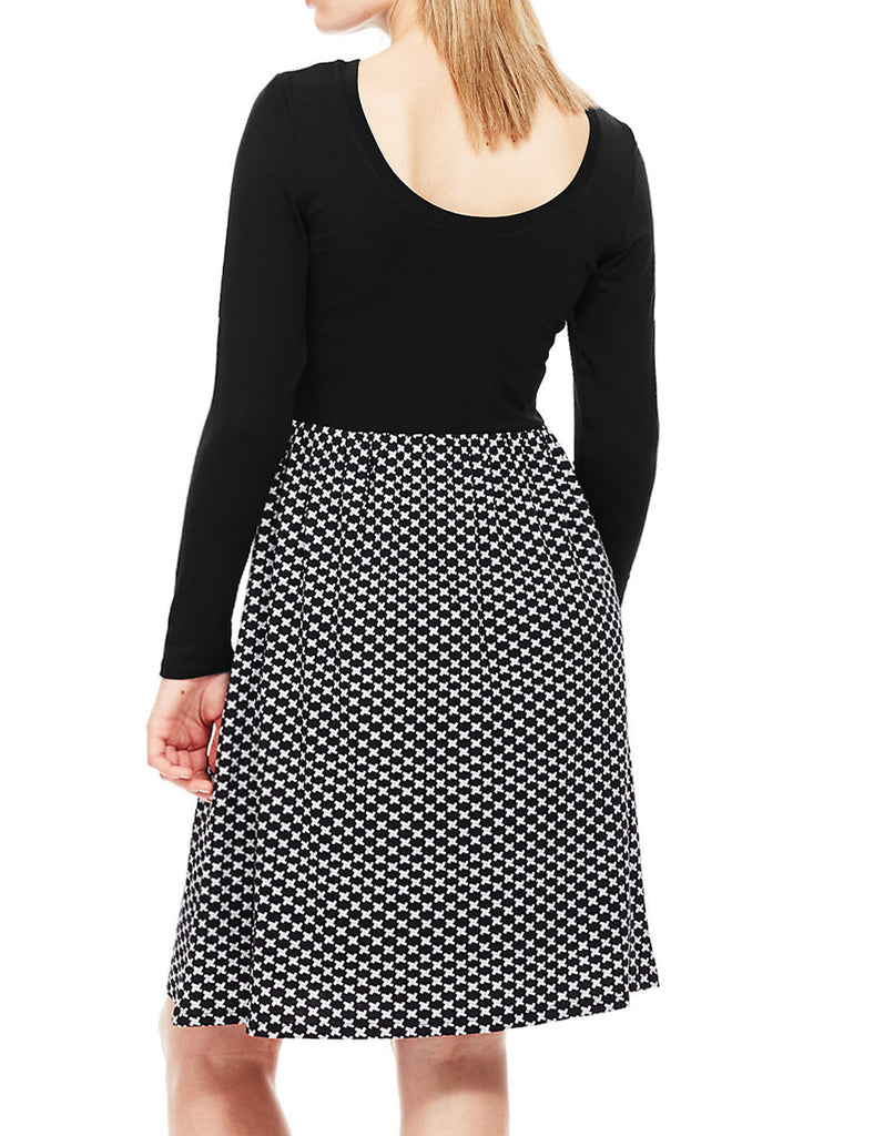 Women's Fashion Monochrome Skirt Dress With Black Jersey Top & Long Sleeves - Back