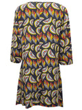 Ladies's Fashion Plus Size Tropical Print Tunic With Scoop Neckline - Rear