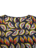 Women's Fashion Plus Size Tropical Print Tunic With Scoop Neckline - Front