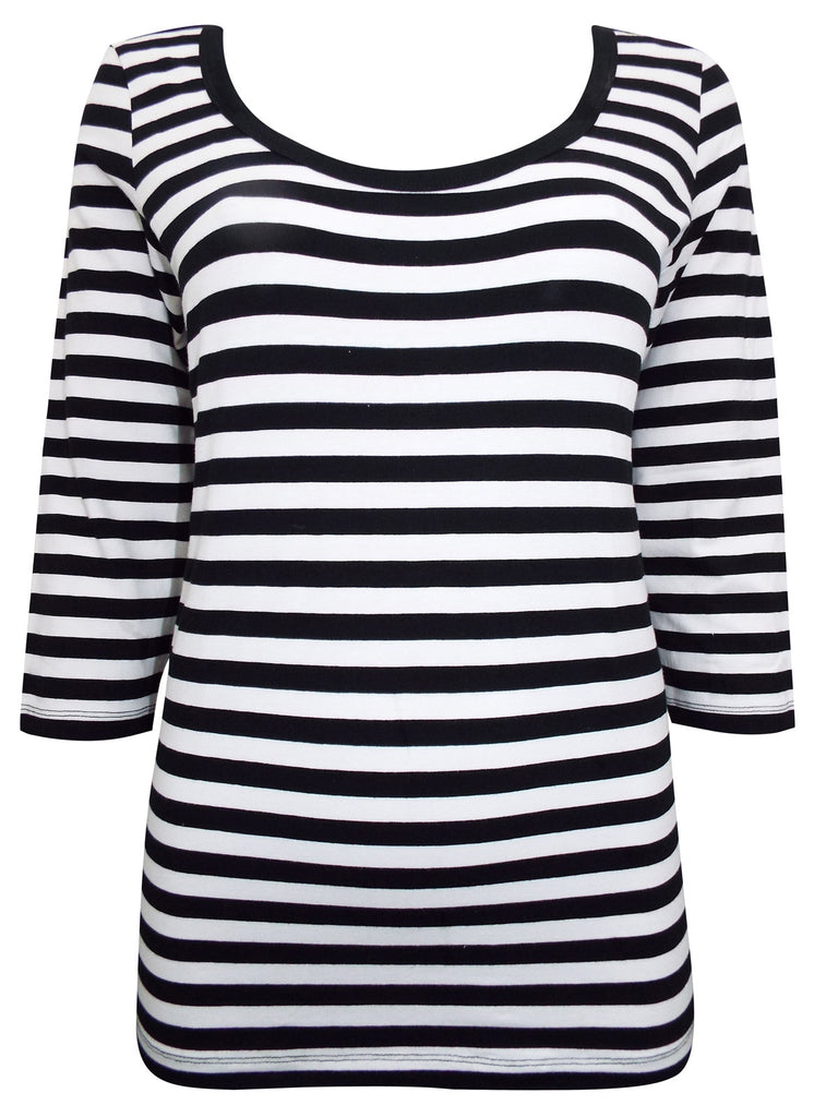 Plus Size, Cotton Rich Striped Brittany Tee