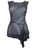 Ladies Fashion Asymmetric Hemmed Black Lace Top With Scoop Neck (Front)