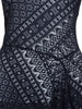 Women's Asymmetric Black Overlaid Lace Top (Close up Front)