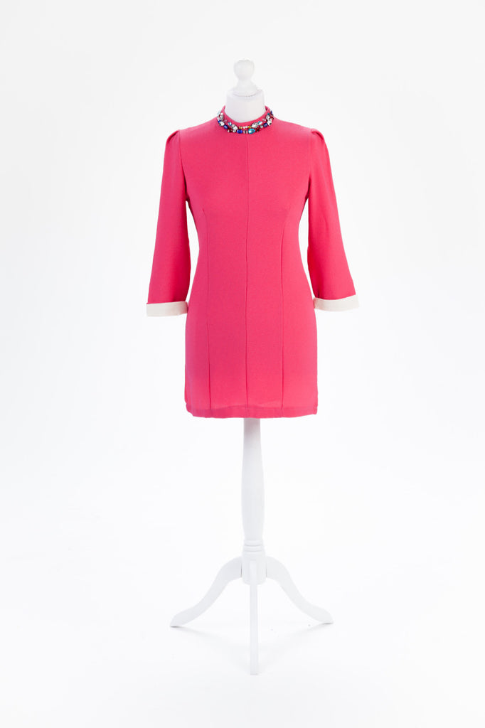 Jewel Neck Shift Dress in Pink - Front
