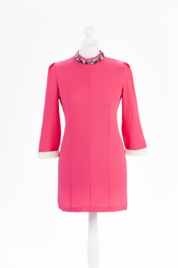 Jewel Neck Shift Dress in Pink - Close Up