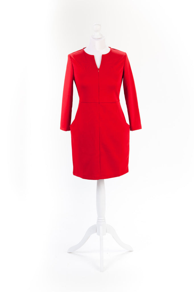 Zip Sleeve Shift Dress The Dress Box Collection - Red Front