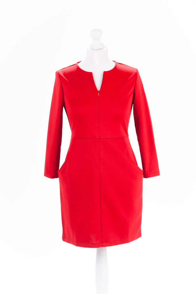 Zip Sleeve Shift Dress The Dress Box Collection - Red Close Up