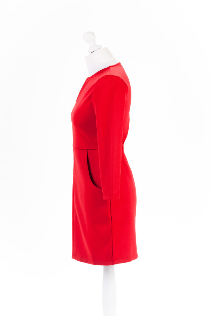 Zip Sleeve Shift Dress The Dress Box Collection - Red Side