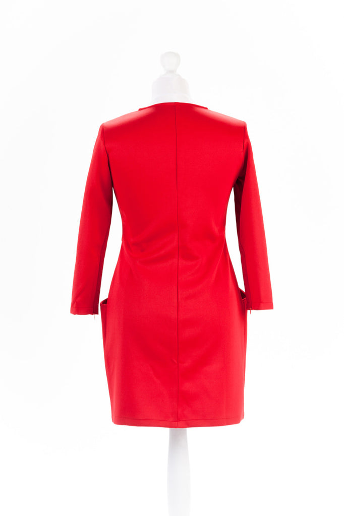 Zip Sleeve Shift Dress The Dress Box Collection - Red Rear
