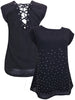 Women's Fashion Black Embellished Top with Scoop Neckline & Capped Sleeves - Front