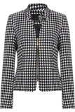 Women's Fashion Blazer, Zip Up Casual Jacket in Monochome with Gold Exposed Zip - Front