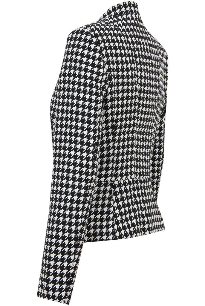 Women's Fashion Zip Up Blazer/Casual Jacket in Monochrome Houndstooth Style - Side