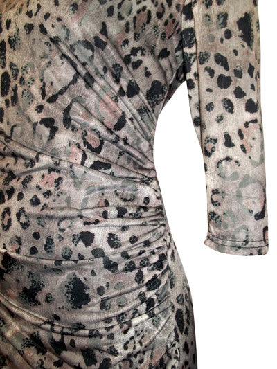 Women's Animal Print Drape Dress Figure Flattering Side Ruching Detail - Close up of Ruched Detail)