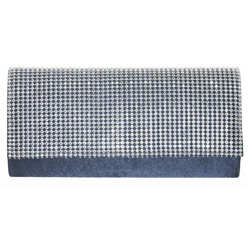 Women's Fashion Dark Blue Diamante Clutch Bag - Front