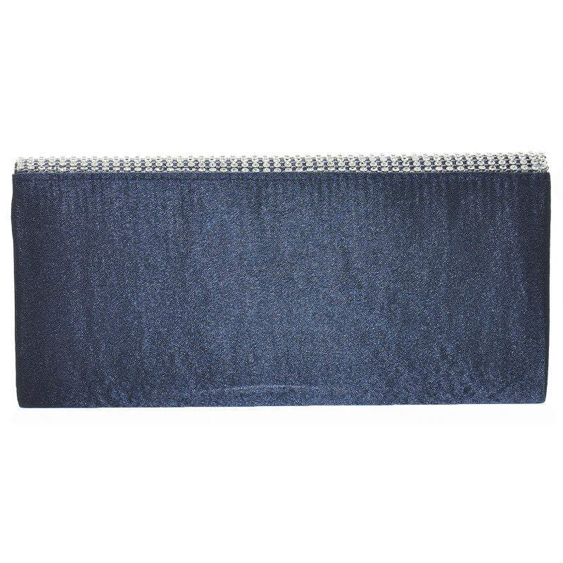 Ladies Fashion Dark Blue Diamante Clutch Bag With Silver Chain - Rear