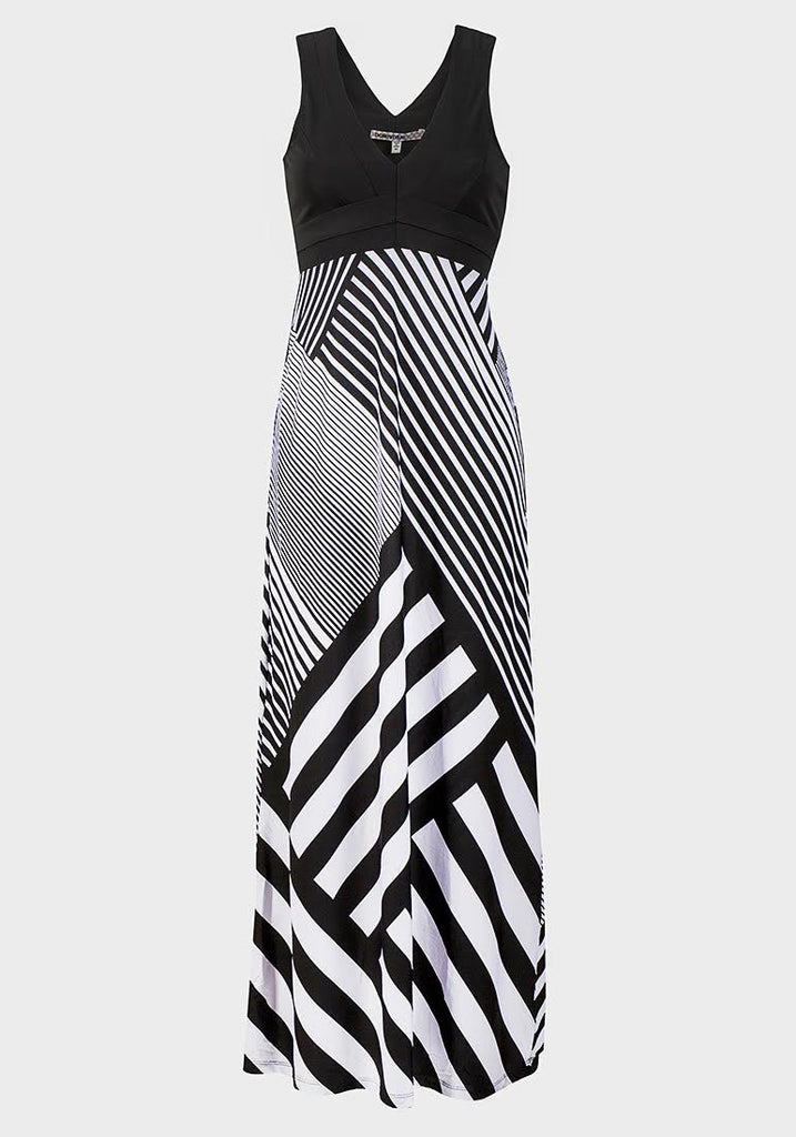 Women's Fashion Fitted Bodice Maxi Dress - Geometric With V Neckline & Sleeveless - Front