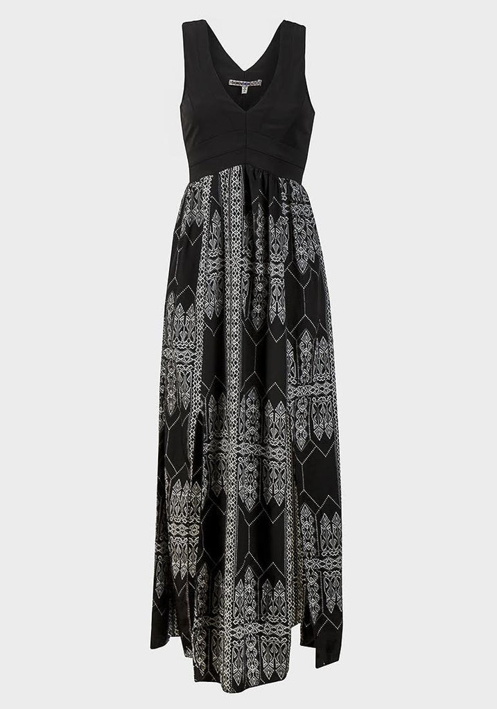 Women's Fashion Fitted Bodice Maxi Dress - Aztec