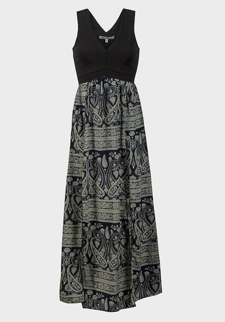 Women's Fashion Fitted Bodice Maxi Dress - Paisley