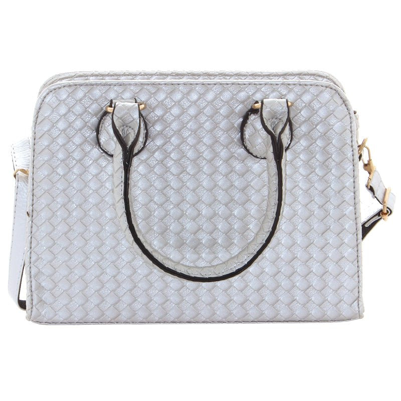 Ladies Fashion Faux Leather Silver Handbag With Inner Zip Pockets - Front