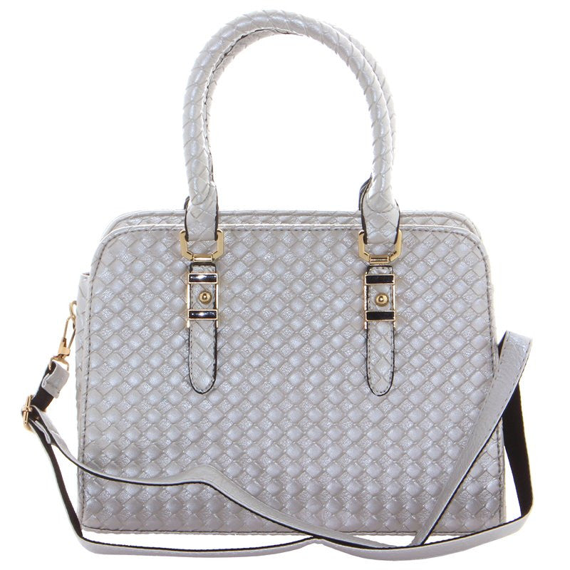 Women's Fashion Faux Leather Silver Handbag With Adjustable Strap & Carry Handles - Front