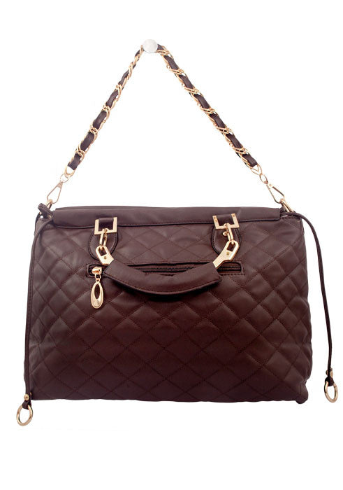 Women's Fashion Handbag, Brown Quilted with Shoulder & Carrying Straps - Front