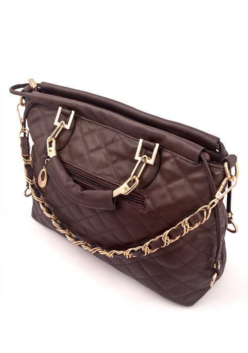 Womens Designer Inspired Fashion Handbag with Chain Straps - Side