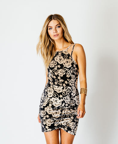 Leaf Patterned Sequin Camisole Party Dress