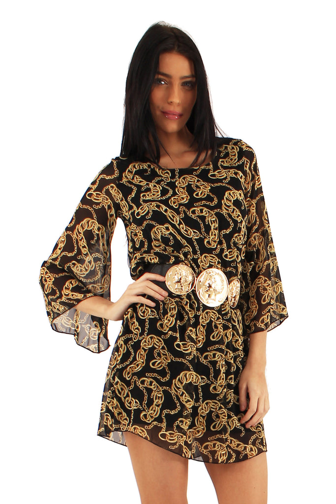 Women's Chain Printed Tunic Dress with Embellished Belt - Three Quarter Sleeves