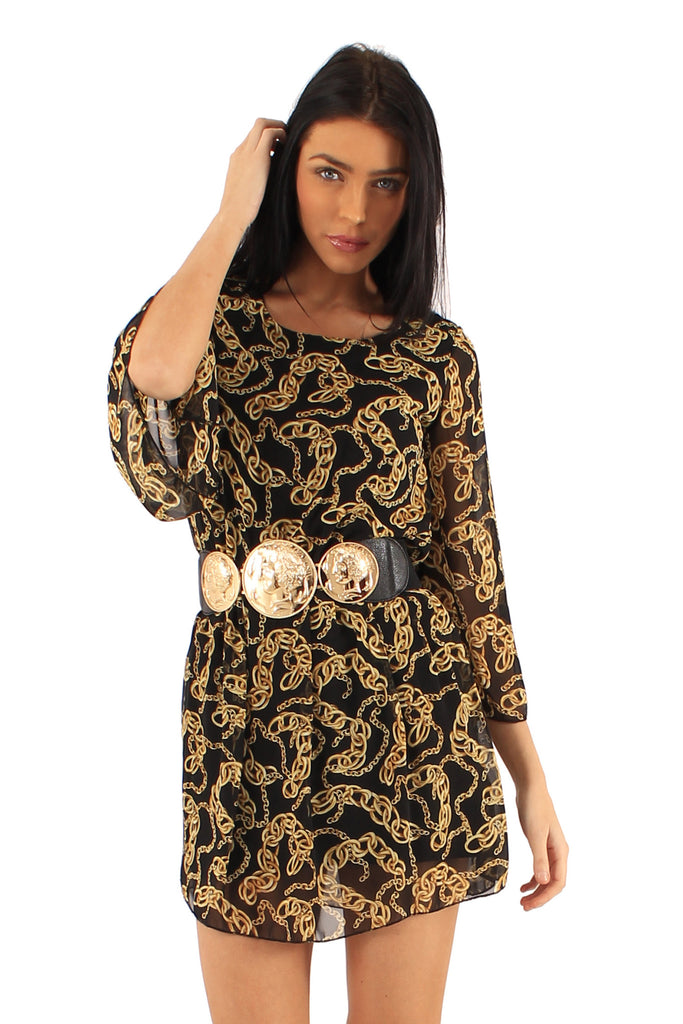 Women's Chain Printed Tunic Dress with Embellished Belt -Close Up