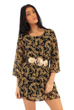 Women's Chain Printed Tunic Dress with Embellished Belt - Front
