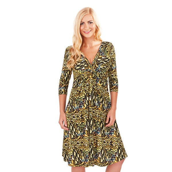 Women's Fashion Geometric Print Dress, Sitting on the Knee With 3/4 Length Sleeves & V-Neckline - Front