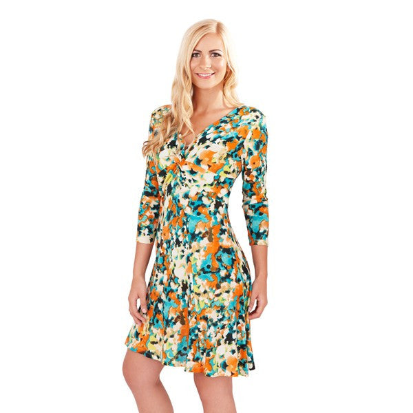 Women's Fashion Abstract, Floral Print Day Dress V-Neckline