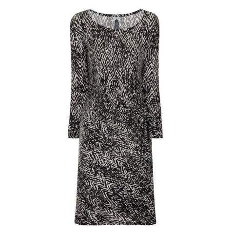 Floral Print Dress Black Lace Trim Long Sleeves