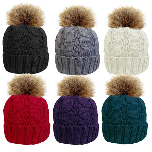 Ladies Cable Bobble Hat with Detachable Faux Fur Pom Pom