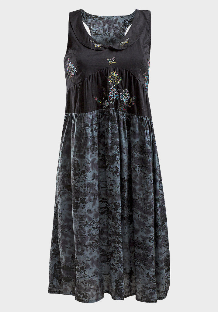 Women's Fashion Cotton Summer Sleeveless Dress in Black with Embroidered Detail - Front