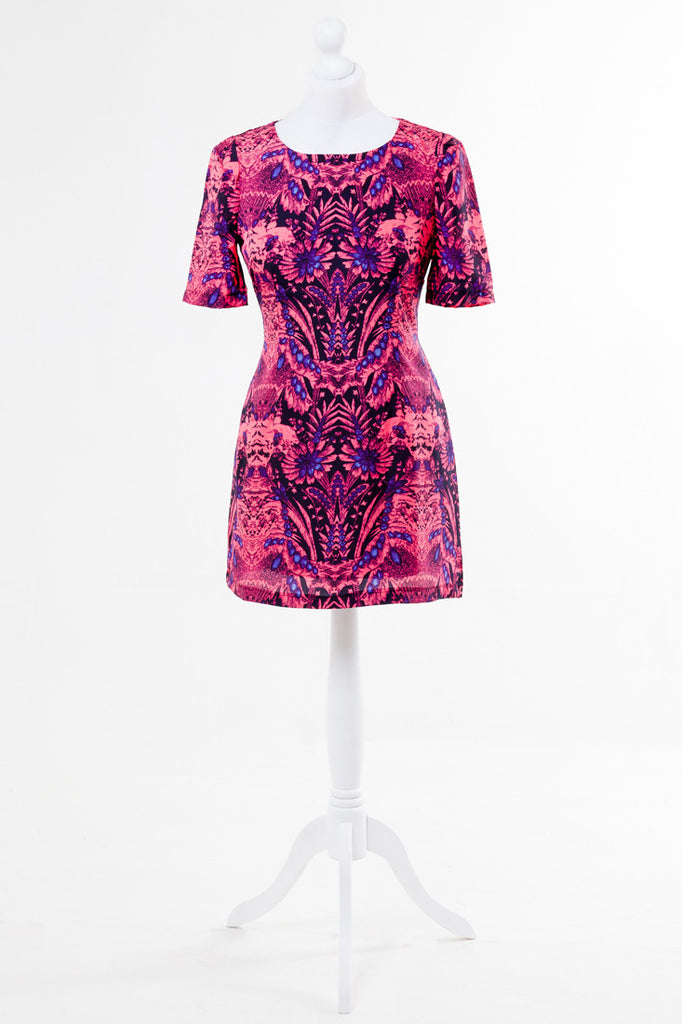 Totem Print Tunic Dress - Pink, Black and Blue