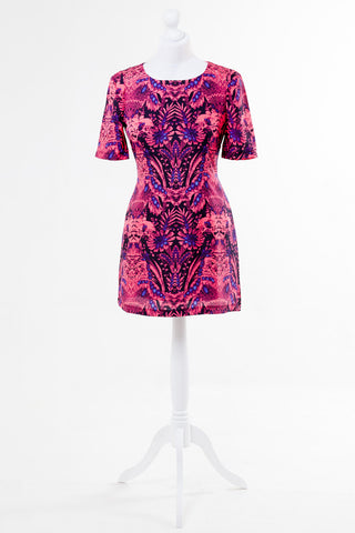 Photo Print Floral Shift Dress