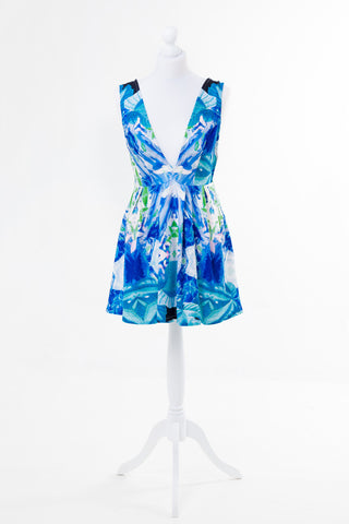 Plunge Neck Floral Print Mini Dress