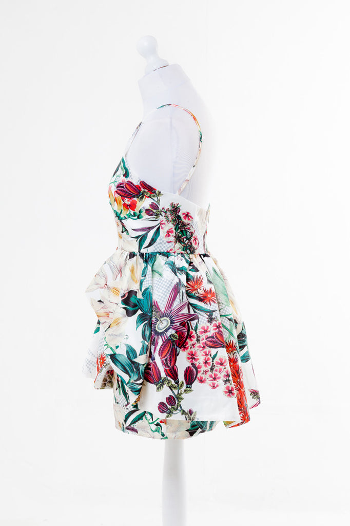 Women's Fashion Bold Tropical Print Skater Dress  - Side