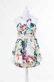 Ladies Fashion Tropical Print Skater Dress Fit & Flare Shape In Bold Vibrant Colour - Front