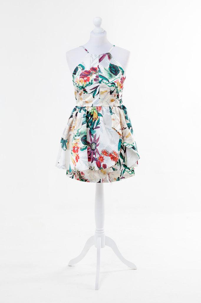 Women's Fashion Tropical Print Skater Dress Bold Colours With Round Neck Sleeveless & Backless Design - Front