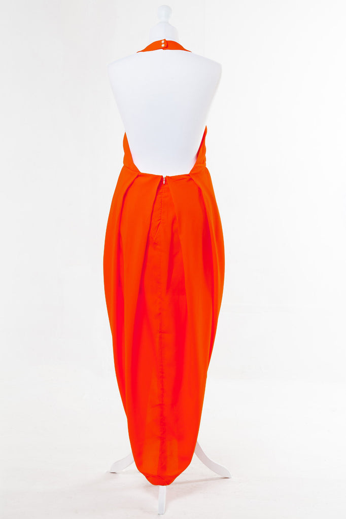 Asymmetric Tulip Midi Dress Orange - The Dress Box Collection - Rear