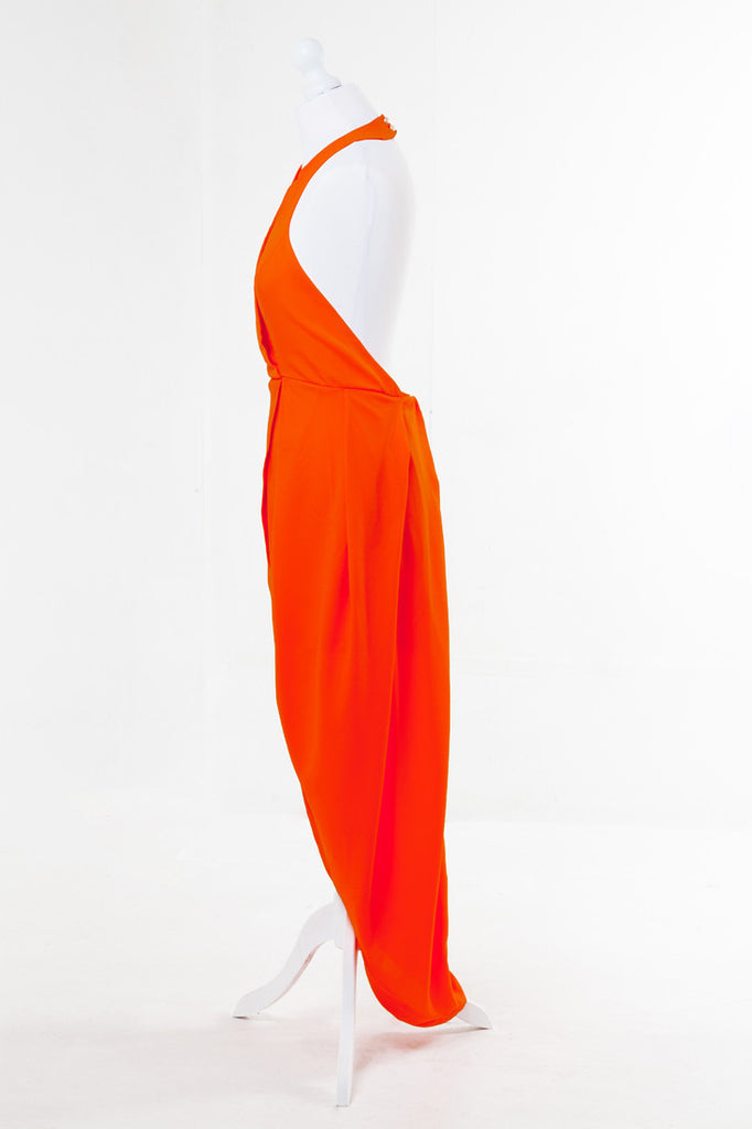 Asymmetric Tulip Midi Dress Orange - The Dress Box Collection  - Side