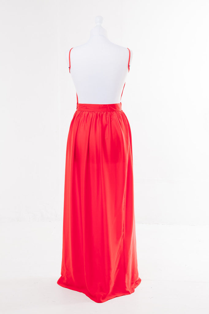 Halter Neck Maxi Dress - The Dress Box Collection - Orange Rear