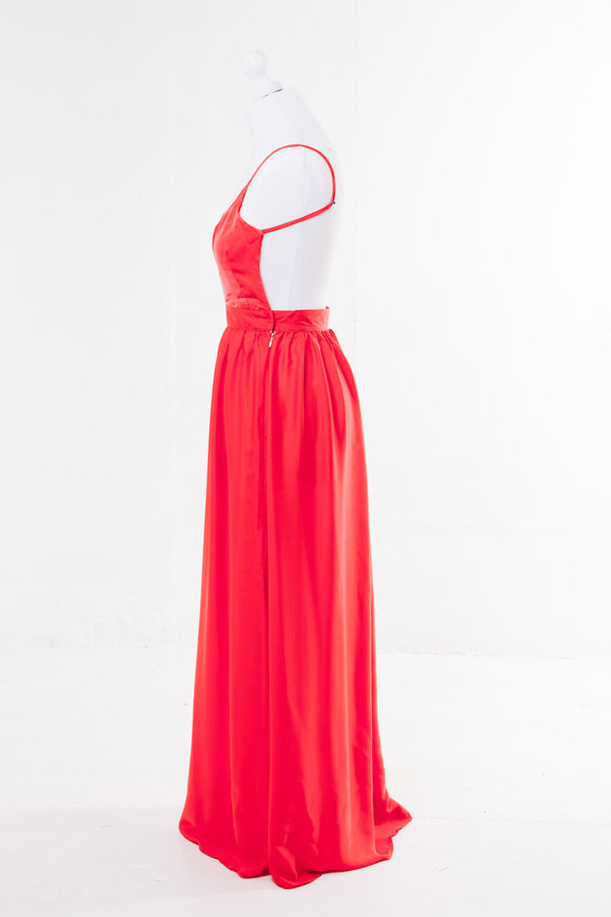 Halter Neck Maxi Dress - The Dress Box Collection - Orange Side