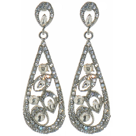 Diamante Silver Tone Solitaire Tear Drop Earrings