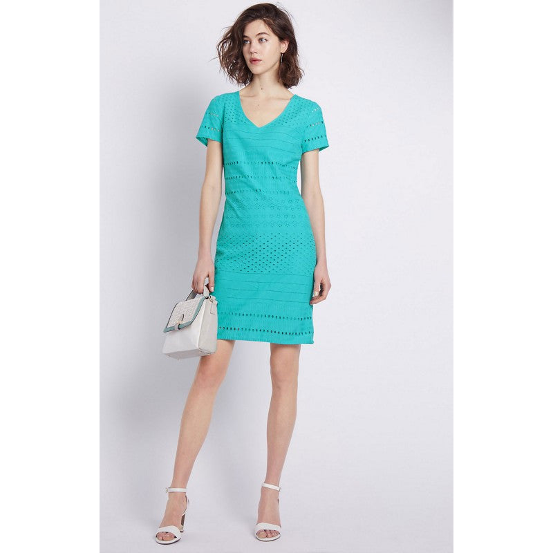 Women's Fashion Broderie Anglasie Pure Cotton Dress with Short Sleeves - Front