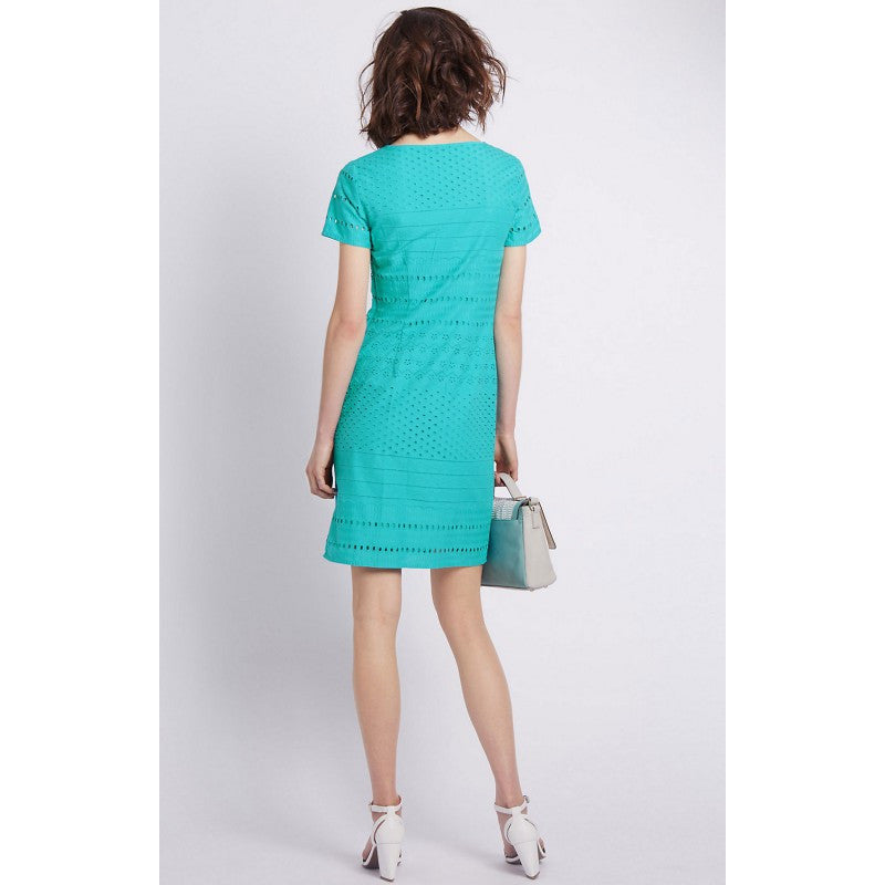 Ladies Fashion Loose Fit Broderie Anglasie Cotton Dress in Turquoise - Rear
