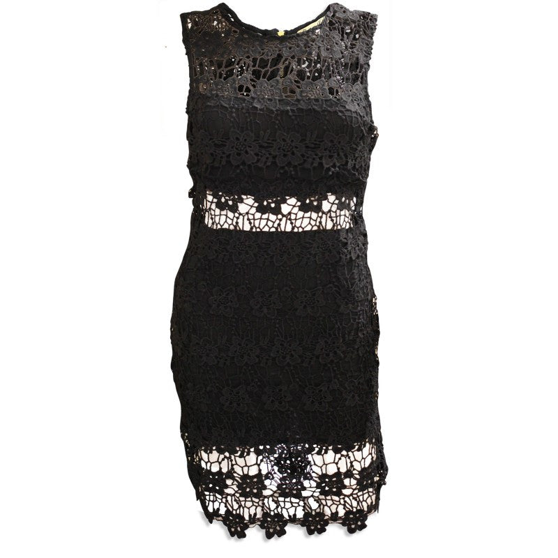 Women's Fashion Black Lace Dress, SLeeveless With Lace Cut Out Detail - Front