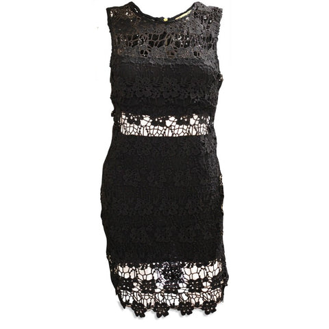 Sequin Embellished Little Black V Back Skater Dress